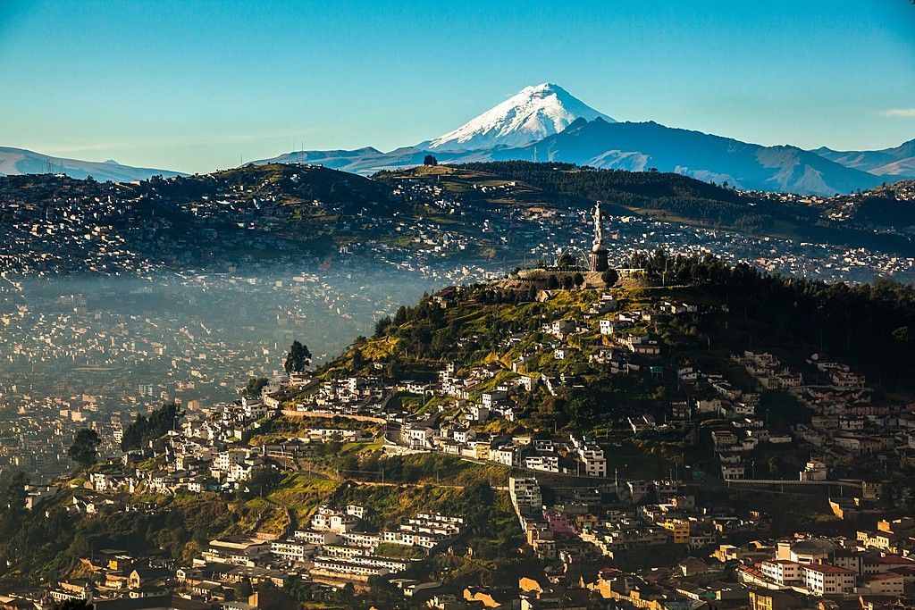 Quito with the Cotopaxi Volcano