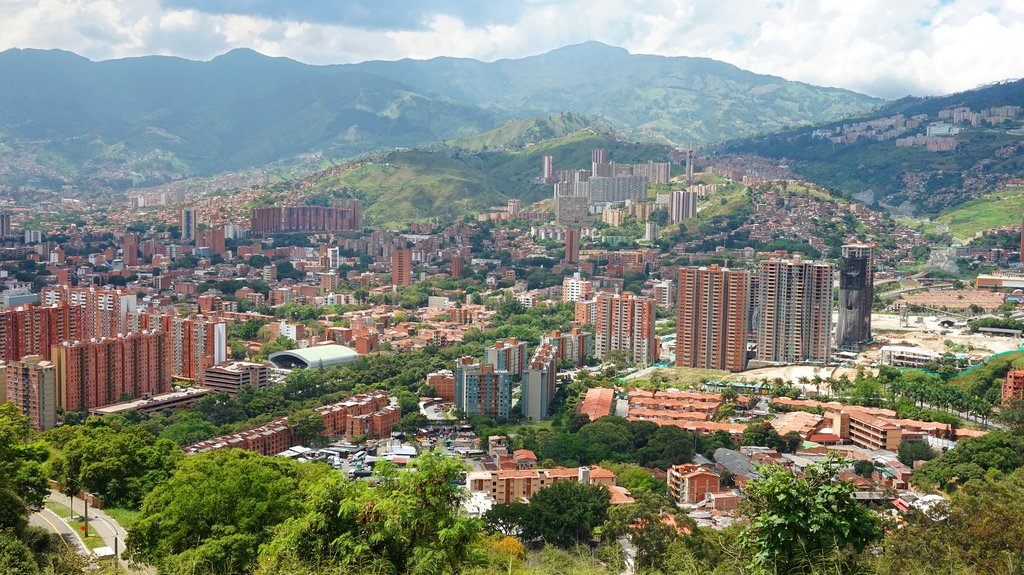 Medellín's skyscrapers nestled in the Andes