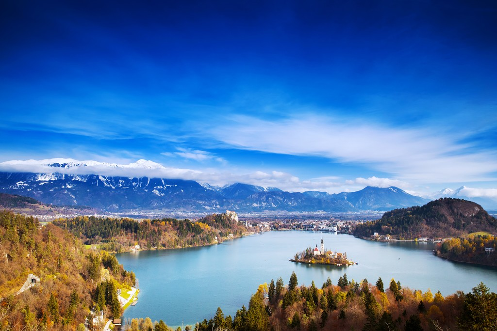 Lake Bled and Bled Island in the winter