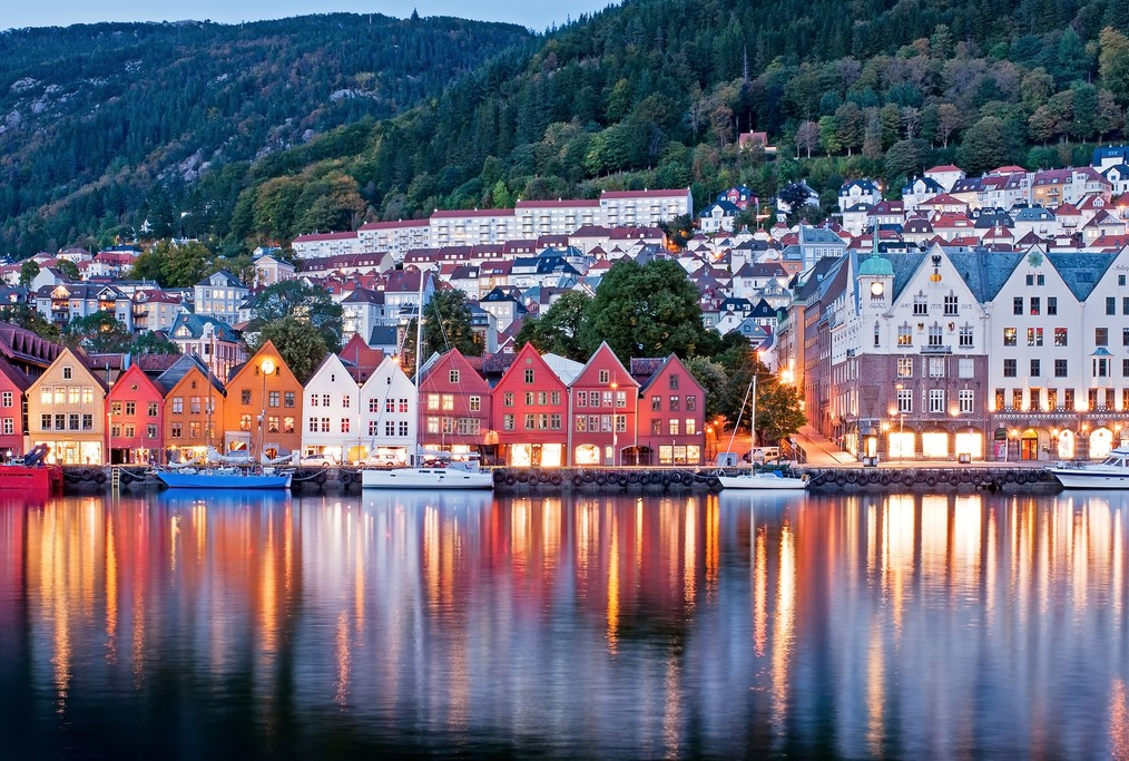 Colorful houses line Bergen's waterfront.