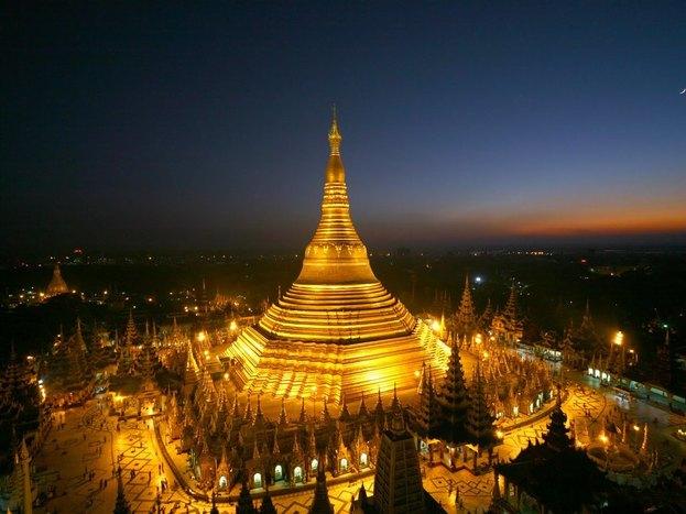 Shwedagon Pagoda at night time