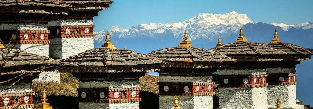 Snow-capped mountains in Bhutan