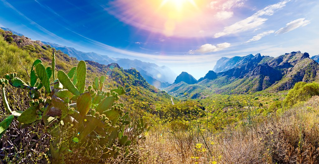 Lush valleys and volcanic mountains on the largest Canary Island of Tenerife.