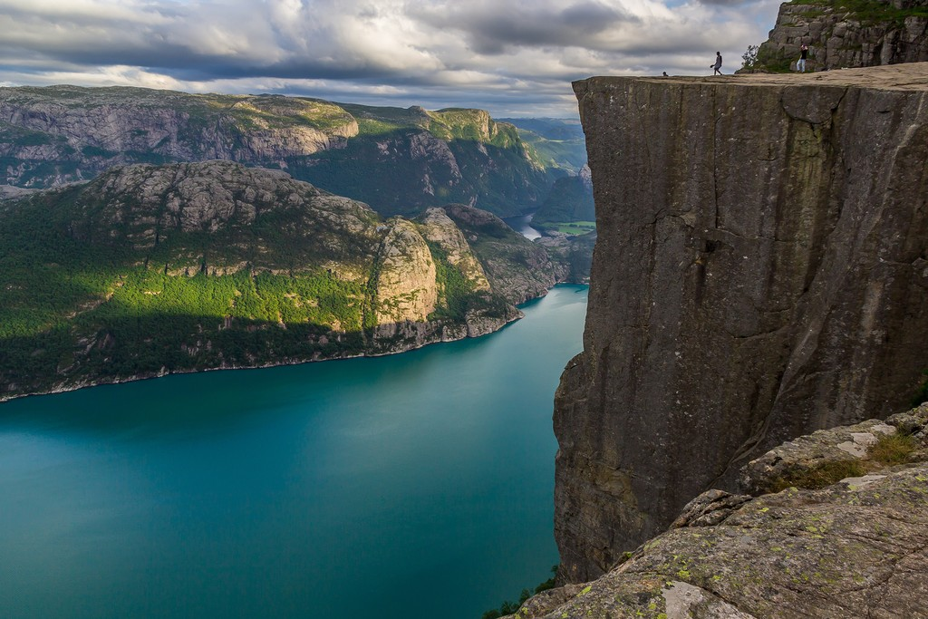 Take a challenging hike to Preikestolen, or Pulpit Rock, above the Lysefjord