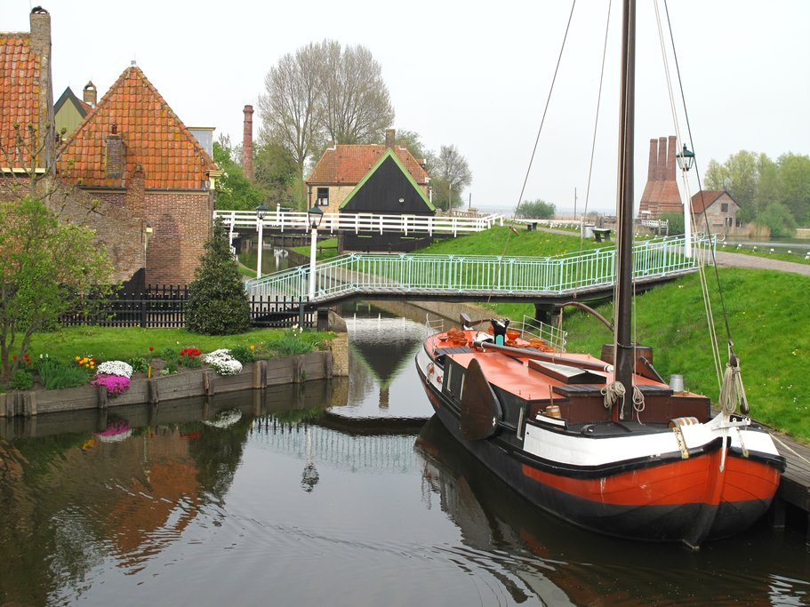 Sailboats in the harbor of a Dutch fishing village