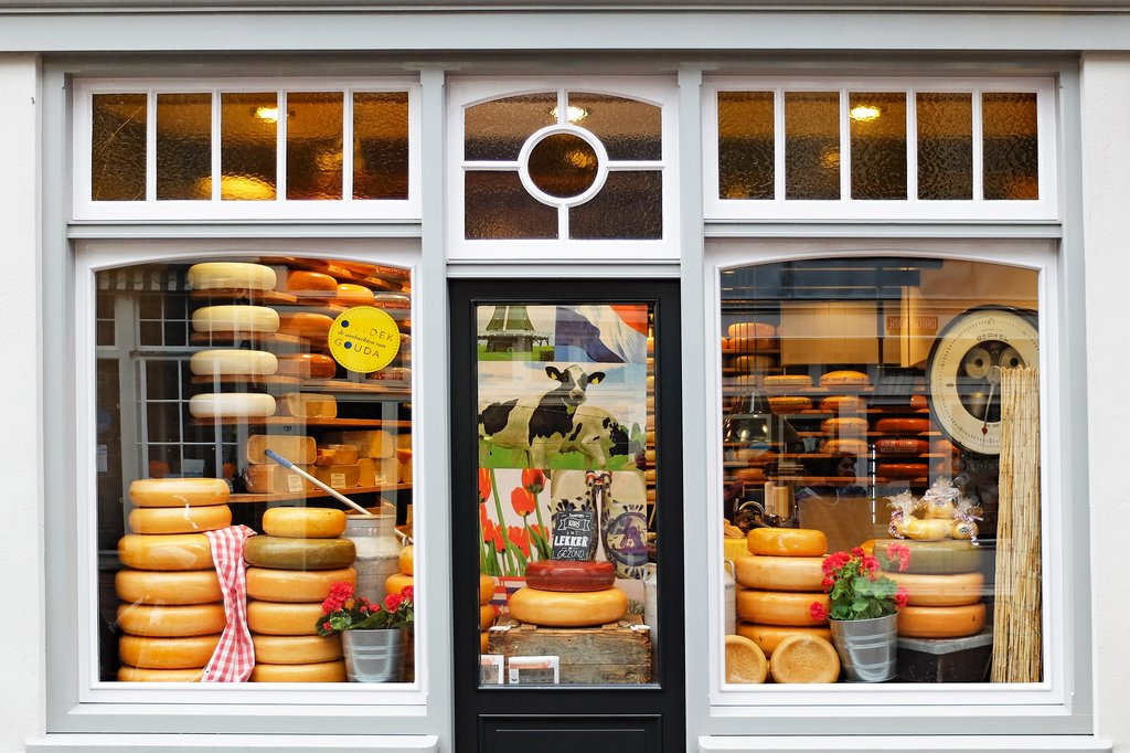 Dutch cheeses for sale at a shop in Amsterdam
