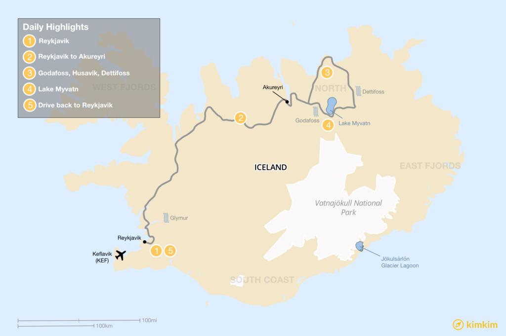 Map of Trip to the North: Akureyri, Lake Myvatn, Waterfalls, and Geothermal Hotspots