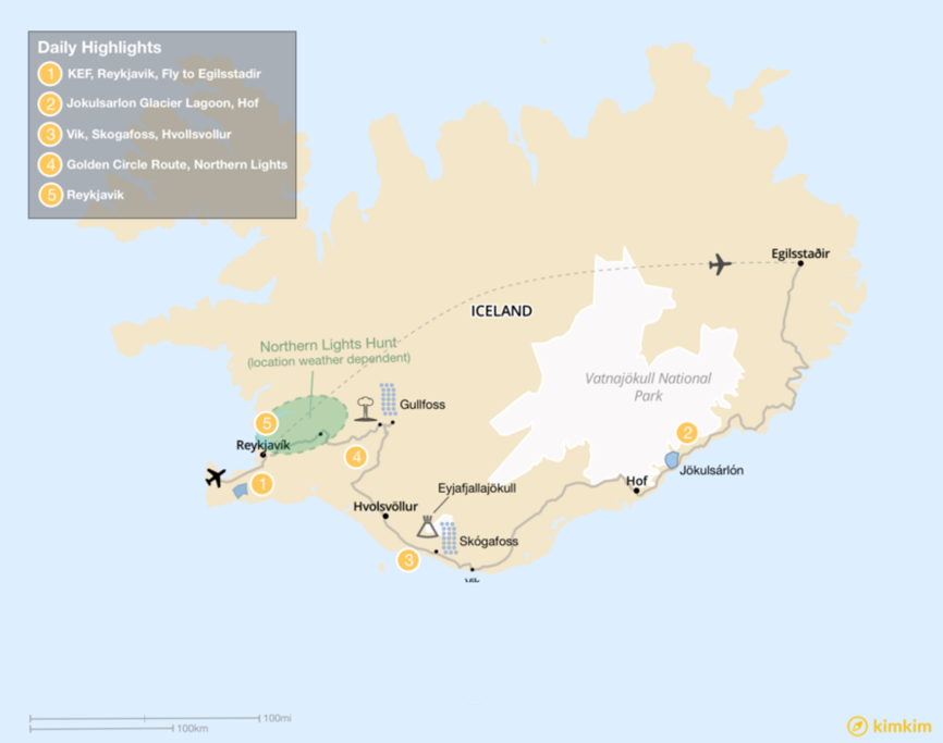 Map of 5-day Iceland Exploration