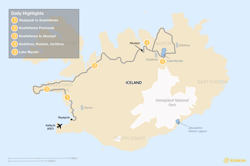 Map of West and North: Snaefellsnes Peninsula, Akureyri, Myvatn Area