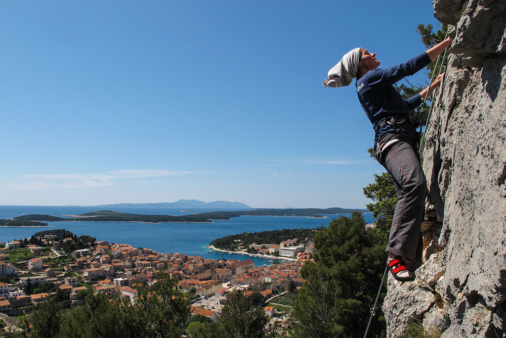 Rock climbing on the island of Hvar