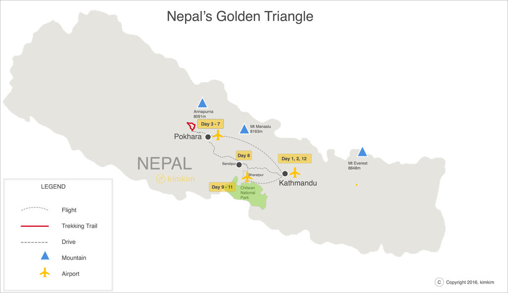 Nepal Golden Triangle Map