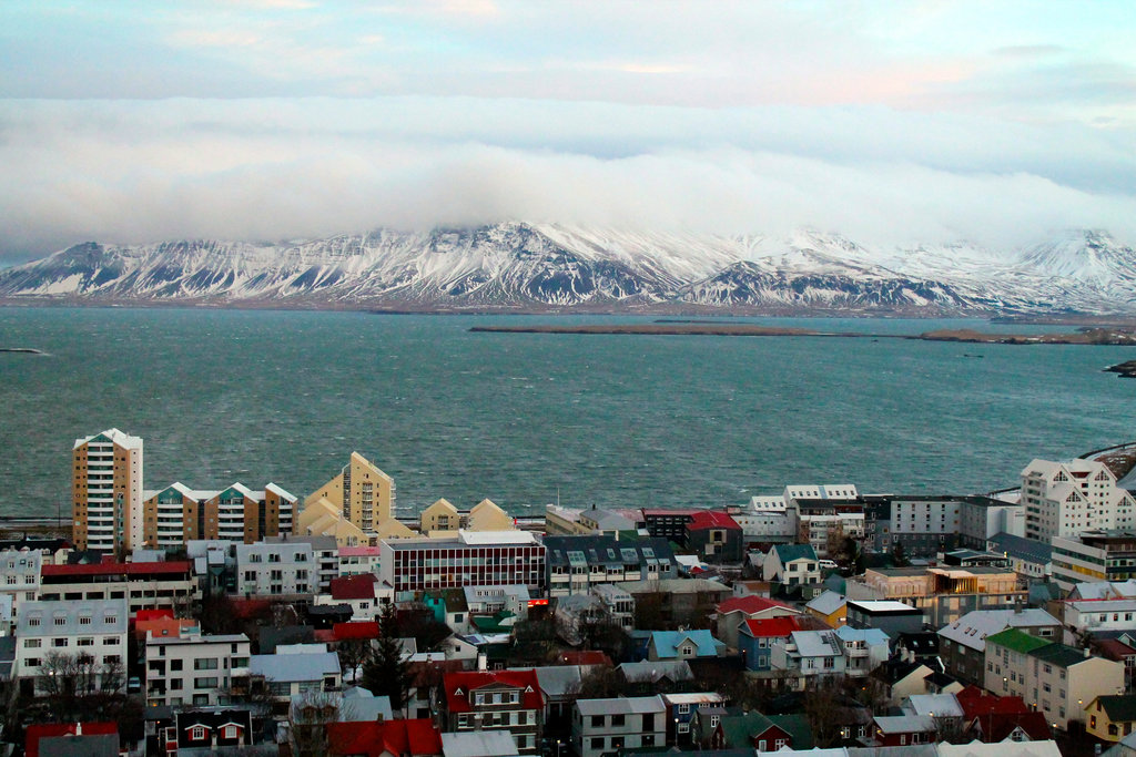 Mountain view over Reykjavik