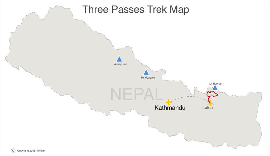Map of the Three Passes trek