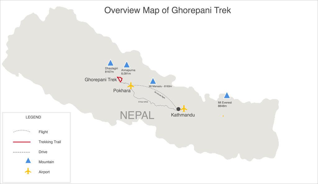 Ghorepani Trek Map