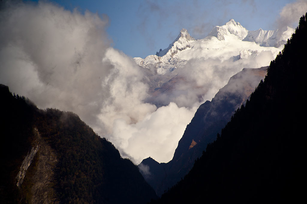Annapurna mountains shrouded by cloud