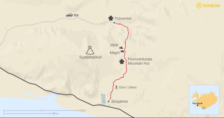 Fimmvörðuháls hiking map
