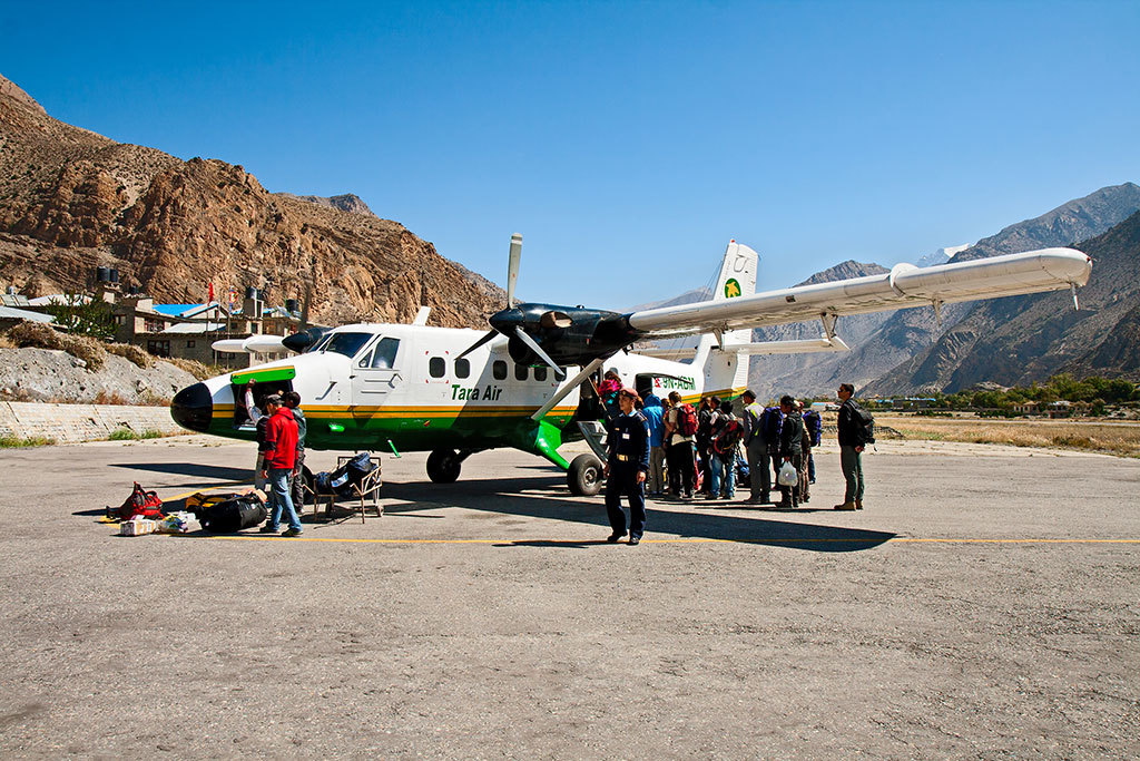 Boarding the plane in Jomsom