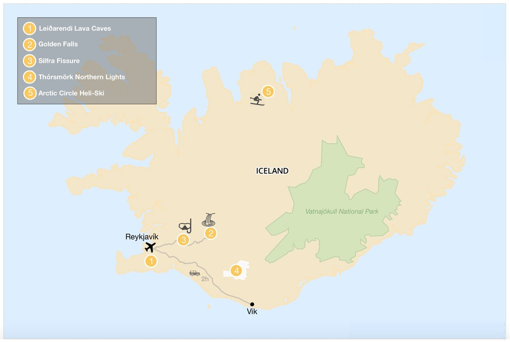 Map of best things to do in Iceland