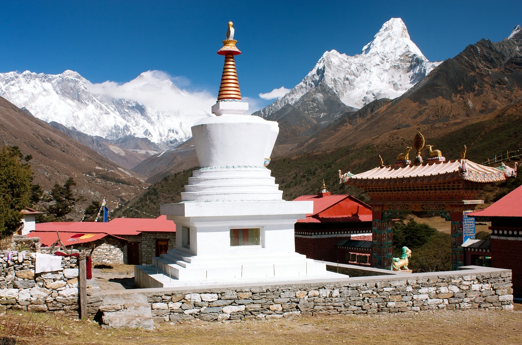 View of Ama Dablam and Lhotse from Tengboche