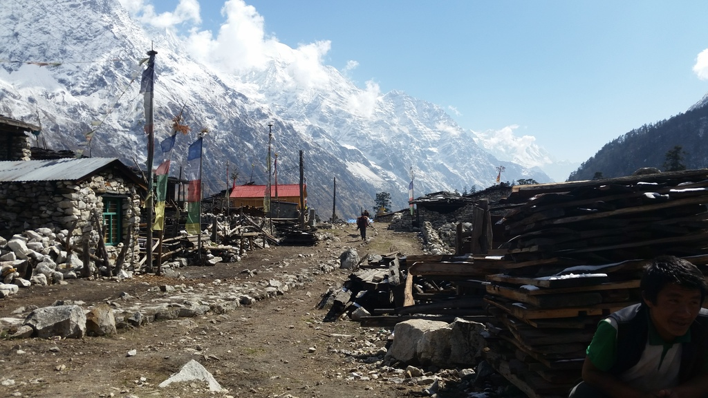 A village at higher elevation along the Manaslu Circuit Trek