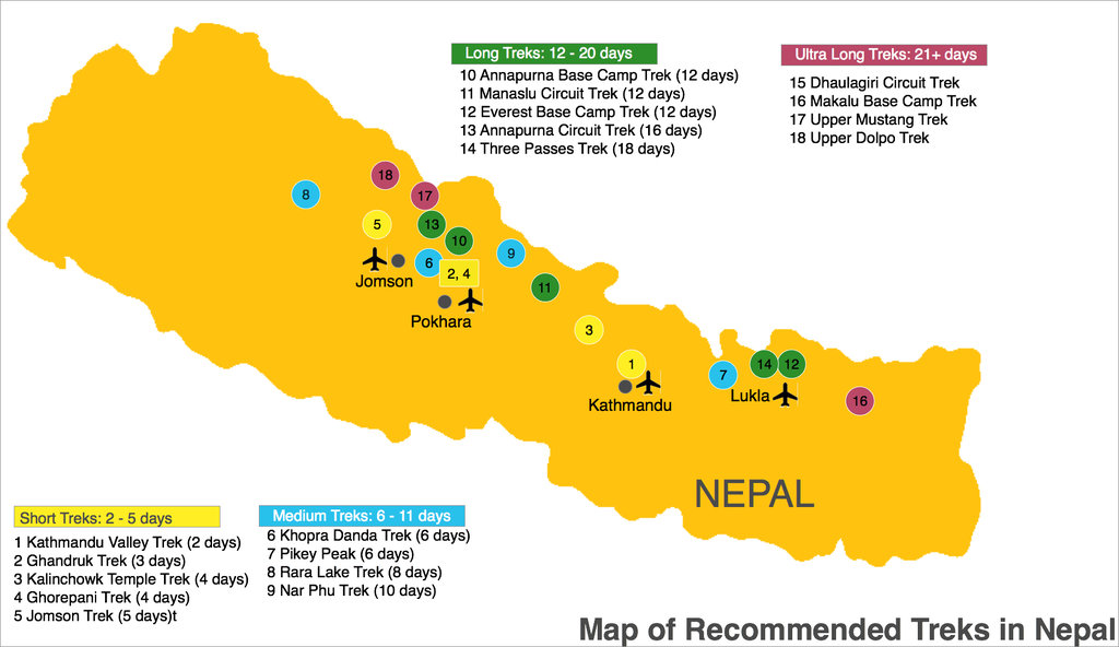 Trekking Map of Nepal