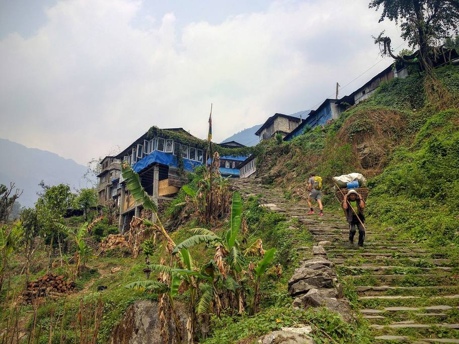 A typical trail in Nepal at lower elevation