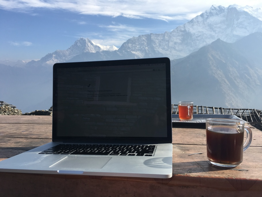 Desk with a view at Khopra Danda